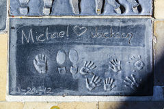 Hand- and Footprints of Michael Jackson in front of the TCL Chinese Theatre Royalty Free Stock Photos