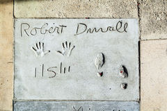 Hand- and Footprints of Robert Duvall in front of the TCL Chinese Theatre Royalty Free Stock Photography