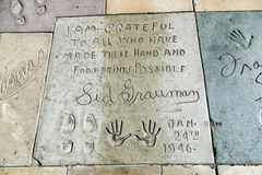 Hand- and Footprints of Sid Grauman in front of the TCL Chinese Theatre Royalty Free Stock Image
