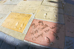 Hand- and Footprints of Will Smith and Peter O'Toole in front of the TCL Chinese Theatre Stock Image