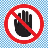 Hand forbidden sign, no entry, do not touch, dont push, off limits vector illustration