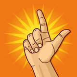 Hand and forefinger. Hand, forefinger and finger with piece of advice Stock Photography