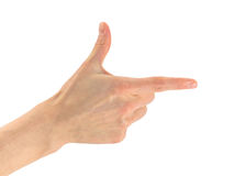 Hand with the forefinger shows to the right. Gesture of hand gun. A hand with the forefinger shows to the right. Isolated on white background Royalty Free Stock Images