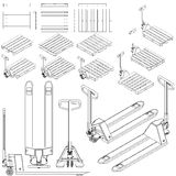 Hand fork lift truck and pallet isometric outline drawing Royalty Free Stock Images