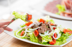Hand with fork and vegetable salad with beef royalty free stock photography