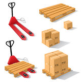 Hand forklift with pallets and boxes Royalty Free Stock Photos