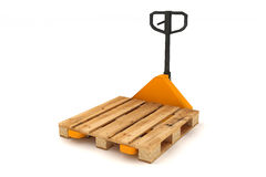 Hand forklift with wooden pallets. Royalty Free Stock Photos