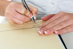 Hand with fountain pen signing contract Stock Photography