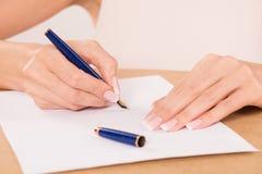 Hand with fountain pen Stock Photos