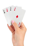 Hand with four aces Royalty Free Stock Photography