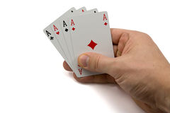 Hand with four aces Royalty Free Stock Images