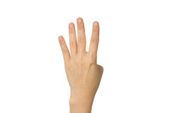 Hand four count. Isolated on white background with clipping path stock images