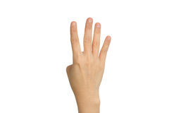 Hand four count. Isolated on white background with clipping path royalty free stock images