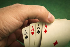 Hand with Four of a Kind Royalty Free Stock Images