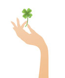 Hand with a four leaf clover Royalty Free Stock Images