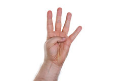 Hand, fourfingers. Hand with four fingers pointing up Stock Photos