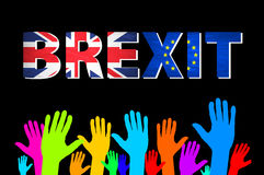 Hand för Brexit text isolerad vektorcolorfull Royaltyfria Foton