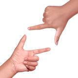Hand frame. Illustration of hand frame sign on isolate background Stock Photo