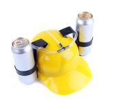 Hand free helmet for drink yellow color Stock Photography