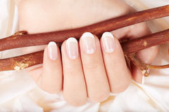 Hand with french manicured nails Royalty Free Stock Images