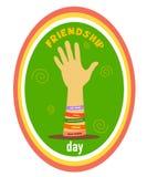 Hand with friendship bracelets vector illustration