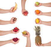 Hand fruit set Stock Photography