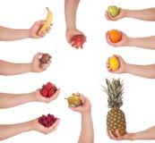 Hand fruit set Stock Photography