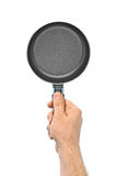 Hand with frying pan Royalty Free Stock Photos