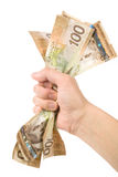 A hand full of canadian dollars Royalty Free Stock Image
