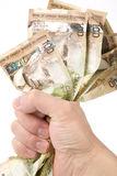 A hand full of canadian dollars Royalty Free Stock Photography