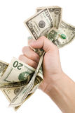A hand full of us dollars Stock Images