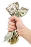 A hand full of us dollars Stock Image
