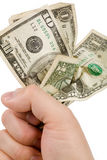 A hand full of us dollars Royalty Free Stock Image