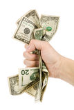 A hand full of us dollars Royalty Free Stock Photos