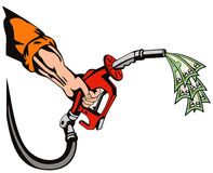 Hand with gas pump sucking mon Stock Photography
