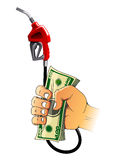Hand with gasoline pump nozzle and money Royalty Free Stock Images