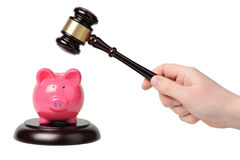 Hand with gavel beats on a piggy bank. On a white background Stock Photos