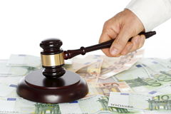 Hand and gavel Stock Images