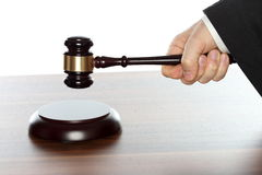 Hand with gavel Royalty Free Stock Photography