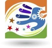 Hand gear logo Stock Image