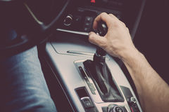 Hand on gear stick Stock Photography