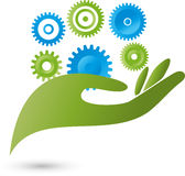 Hand, gear wheel, gears, mechanics. Hand and gear wheel, gears, mechanics logo stock illustration