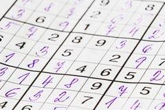 Hand gefülltes sudoku ohne eine Zwischenzahl Stockfotografie