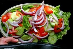 Hand - gehouden plaat van salade stock afbeeldingen