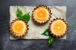 Hand - gemaakt scherp, tartlet met citroengestremde melk Royalty-vrije Stock Foto's