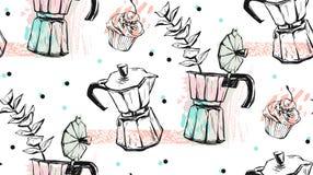 Hand - gemaakt vector abstract geweven naadloos patroon van koffieconcept met geiserkoffiezetapparaat, cakes en bloembrunch Royalty-vrije Stock Fotografie