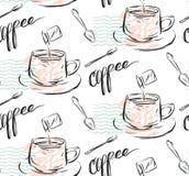 Hand - gemaakt vector abstract geweven naadloos patroon van koffieconcept met mok, melk, theelepel en met de hand geschreven mode Royalty-vrije Stock Fotografie