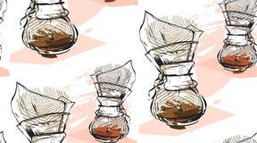 Hand - gemaakt vector abstract geweven naadloos patroon van koffiezetapparaat in pastelkleuren op witte achtergrond Ontwerp voor  Stock Fotografie