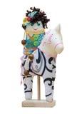 Hand - gemaakt zacht speelgoedmeisje vrolijke karakters op horseback isolat Stock Foto's