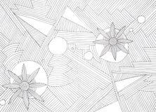 Hand - gemaakte abstracte illustratie van zwarte parallelle lijnen en bloemvormen Royalty-vrije Stock Fotografie
